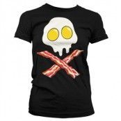 Bacon Skull Girly T-Shirt, Girly T-Shirt