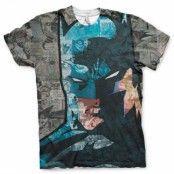 Batman Face-Up Allover T-Shirt, Modern Fit Polyester Tee