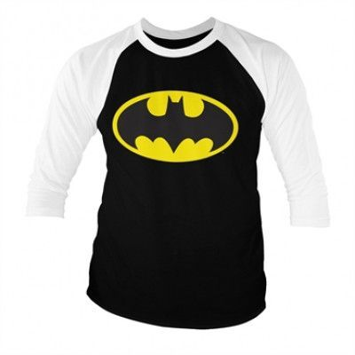 Batman Signal Logo Baseball 3/4 Sleeve Tee, Baseball 3/4 Sleeve Tee