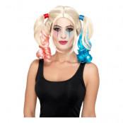 Harley Quinn Blond Peruk med Tofsar - One size