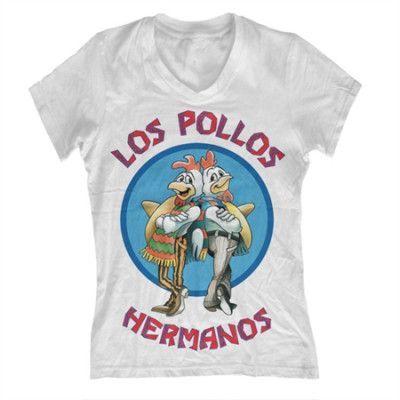 Los Pollos Hermanos Girly V-Neck Tee, Girly V-Neck T-Shirt