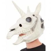 Heltäckande Skelett-Enhörning Lyx Latexmask med Horn och Rörlig Mun
