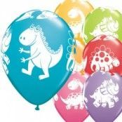 Söta & kramgoda dinosaurier blandade ballonger - 28 cm latex - 6 st