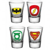 4 stk Justice League Shotglas