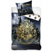 Harry Potter - Golden Hogwartsgrest on Hogwarts Background Duvet Set 160 x 200