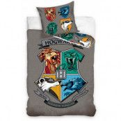 Harry Potter - Hogwarts Crest on Gray Duvet Set