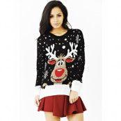 Svart Stickad Jultröja med Rudolf-Motiv