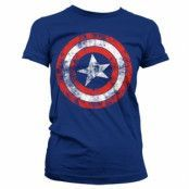 Captain America Distressed Shield Girly T-Shirt, Girly T-Shirt