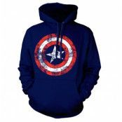 Captain America Distressed Shield Hoodie, Hooded Pullover