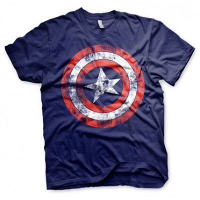 Captain America Distressed Shield T-Shirt, Basic Tee