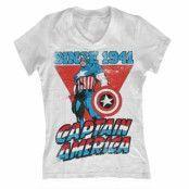 Captain America Since 1941 Girly V-Neck T-Shirt, Girly V-Neck T-Shirt