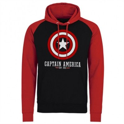 Marvel Comics - Captain America Logo Baseball Hoodie, Baseball Hooded Pullover