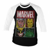 Marvel Distressed Characters Baseball 3/4 Sleeve Tee, Baseball 3/4 Sleeve Tee