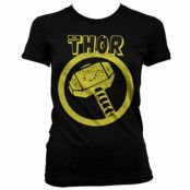 Thor Distressed Hammer Girly T-Shirt, Girly T-Shirt