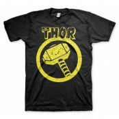 Thor Distressed Hammer T-Shirt, Basic Tee