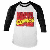 Vintage Marvel Comics Logo Baseball Long Sleeve Tee, Baseball Long Sleeve Tee