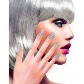 12 stk Lösnaglar med Glitter - Silverfärgade