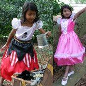 2-in-1 Pirat-Prinsessa barn maskeraddräkt