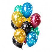 Ballonger Flerfärgade med Stjärnor - 12-pack