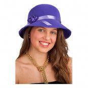 20-tals Hatt med Ros Lila - One size