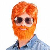 Peruk, orange med skägg