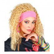 80-tals Lockig Blond Peruk med Hårband - One size