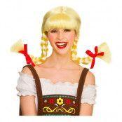 Bavarisk Blond Peruk med Flätor - One size