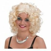 Blond Lockig Kort Peruk - One size