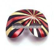Svart, guld & rödfärgad Domino maskeradmask