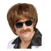 60-tals Peruk Brun med Mustasch - One size