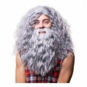 Hagrid med Skägg Grå Peruk - One size