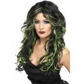 Peruk goth-brud svart och grön