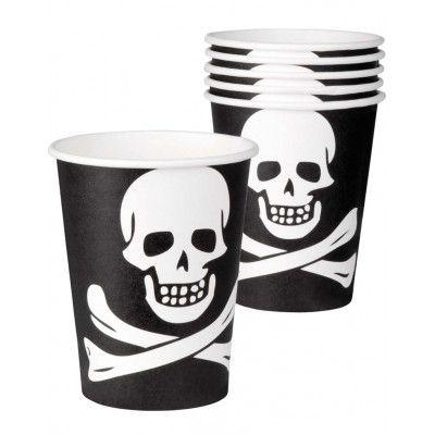 6 stk Svarta Pappmuggar med Dödskalle - Pirates of the Seven Seas