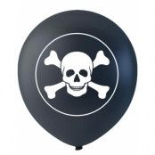 6 stk Svarte Piratballonger med Hodeskaller 26 cm