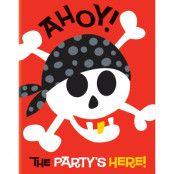 8 st Inbjudningskort - AHOY! Piratfest