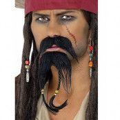 Caribian pirate-set med skägg och mustasch Lösskägg
