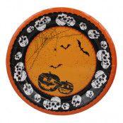 Papperstallrikar Halloween med Döskallar & Pumpor - 8-pack