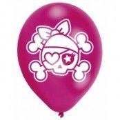 Pirat rosa & svarta ballonger 28 cm latex - 6 st