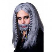 Peruk, pirat grå med skägg