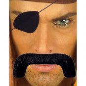 Piratset - Svart Lösmustasch och Ögonlapp
