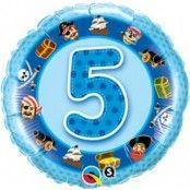 Rund ljusblå folieballong för 5-årsdagen piratbård - 46 cm