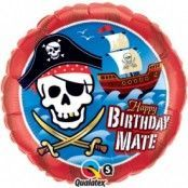 "Rund röd folieballong ""Happy birthday Mate"" pirater - 46 cm"