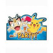 8 stk Inbjudningskort - Pikachu och Pokémon-Vänner