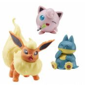 Pokemon Battle Figure Set 3 pack Flareon, Munchlax&Jigglypuff