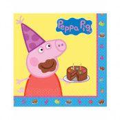 16 stk Födelsedag Servietter 33x33 cm - Peppa Pig