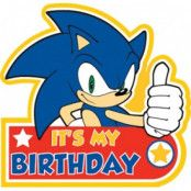 "Födelsedagsknapp ""Sonic The Hedgehog - It's my birthday"" - 8 x 9cm"