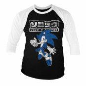 Sonic The Hedgehog Japanese Logo Baseball 3/4 Sleeve Tee, Baseball 3/4 Sleeve Tee