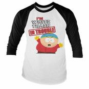 South Park - I'm White Trash In Trouble Baseball Long Sleeve Tee, Baseball Long Sleeve Tee