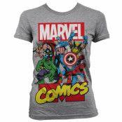 Marvel Comics Heroes Girly T-Shirt Grå, SMALL