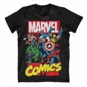 Marvel Comics Heroes V-Neck T-Shirt, V-Neck T-Shirt